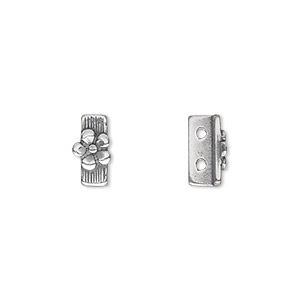 spacer bar, jbb findings, antique silver-plated pewter (tin-based alloy), 10x5mm 2-strand rectangle with single-sided flower design. sold per pkg of 2.