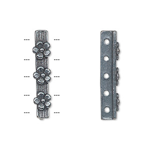spacer bar, jbb findings, gunmetal-plated pewter (tin-based alloy), 26x5mm 5-strand single-sided bar with flower design, fits up to 4mm bead. sold individually.