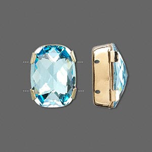 spacer bar, swarovski crystals and gold-plated brass, aquamarine, silver-foil back, 18x13mm double-drilled single-stone faceted rounded rectangle, 8mm between holes. sold per pkg of 144 (1 gross).