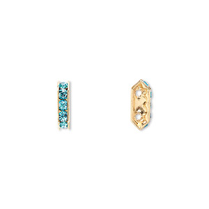 spacer bar, swarovski crystals and gold-plated brass, aquamarine with silver-foil back, 10.5x2.5mm 2-strand multi-stone rectangle with 4mm between holes, five size pp16 chatons. sold per pkg of 4.