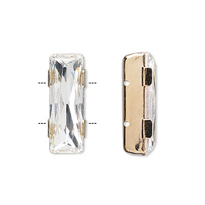 spacer bar, swarovski crystals and gold-plated brass, crystal clear, 21x8mm double-drilled single-stone faceted rectangle, 8mm between holes. sold individually.