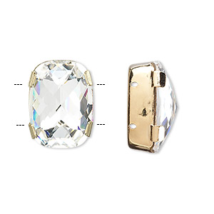 spacer bar, swarovski crystals and gold-plated brass, crystal clear, silver-foil back, 18x13mm double-drilled single-stone faceted rounded rectangle, 8mm between holes. sold individually.
