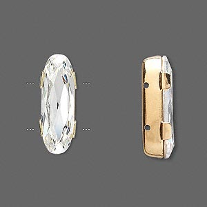 spacer bar, swarovski crystals and gold-plated brass, crystal clear, silver-foil back, 21x8mm double-drilled single-stone faceted oval, 8mm between holes. sold individually.