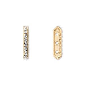 spacer bar, swarovski crystals and gold-plated brass, crystal clear with silver-foil back, 17.5x2.5mm 3-strand multi-stone rectangle with 4mm between holes, eight size pp16 chatons. sold per pkg of 144 (1 gross).