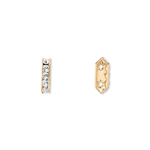 spacer bar, swarovski crystals and gold-plated brass, crystal clear with silver-foil back, 10.5x2.5mm 2-strand multi-stone rectangle with 4mm between holes, five size pp16 chatons. sold per pkg of 144 (1 gross).