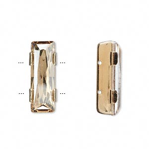 spacer bar, swarovski crystals and gold-plated brass, crystal golden shadow, 21x8mm double-drilled single-stone faceted rectangle, 8mm between holes. sold individually.