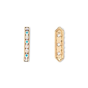 spacer bar, swarovski crystals and gold-plated brass, crystal passions, crystal ab, 17.5x2.5mm 3-strand, fits up to 4mm bead. sold per pkg of 4.