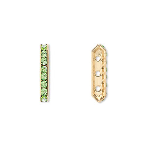 spacer bar, swarovski crystals and gold-plated brass, peridot with silver-foil back, 17.5x2.5mm 3-strand multi-stone rectangle with 4mm between holes, eight size pp16 chatons. sold per pkg of 4.