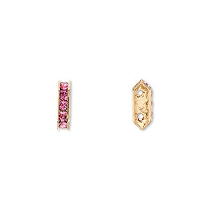 spacer bar, swarovski crystals and gold-plated brass, rose with silver-foil back, 10.5x2.5mm 2-strand multi-stone rectangle with 4mm between holes, five size pp16 chatons. sold per pkg of 4.