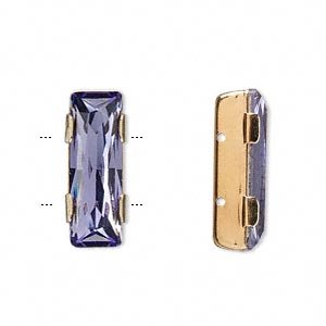 spacer bar, swarovski crystals and gold-plated brass, tanzanite, 21x8mm double-drilled single-stone faceted rectangle, 8mm between holes. sold per pkg of 24.