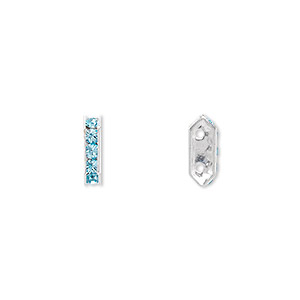 spacer bar, swarovski crystals and rhodium-plated brass, aquamarine, 10.5x2.5mm 2-strand 6-sided (77710), fits up to 4mm bead. sold per pkg of 144 (1 gross).