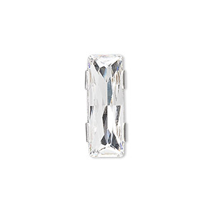 spacer bar, swarovski crystals and rhodium-plated brass, crystal clear, 21x8mm 2-strand rectangle (11004), fits up to 8mm bead. sold per pkg of 48.
