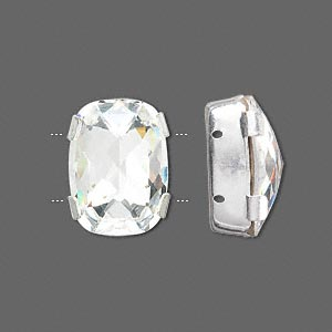 spacer bar, swarovski crystals and rhodium-plated brass, crystal passions, crystal clear, foil back, 18x13mm 2-strand rectangle, fits up to 8mm bead. sold individually.