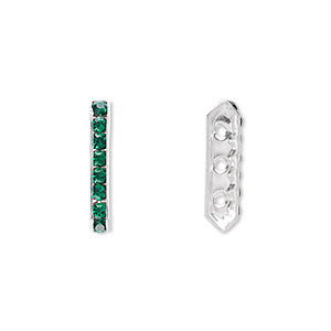 spacer bar, swarovski crystals and silver-plated brass, emerald with silver-foil back, 17.5x2.5mm 3-strand multi-stone rectangle with 4mm between holes, eight size pp16 chatons. sold per pkg of 4.