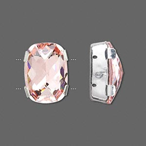 spacer bar, swarovski crystals and silver-plated brass, light rose, 18x13mm 2-strand rectangle (11504), fits up to 8mm bead. sold per pkg of 24.