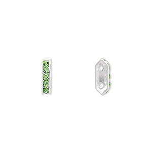 spacer bar, swarovski crystals and silver-plated brass, peridot with silver-foil back, 10.5x2.5mm 2-strand multi-stone rectangle with 4mm between holes, five size pp16 chatons. sold per pkg of 144 (1 gross).