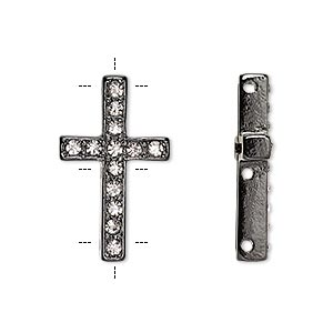 spacer, czech glass rhinestone and painted pewter (zinc-based alloy), clear and black, 25x15mm single-sided 3-strand cross with 2mm faceted round, fits up to 10mm bead. sold per pkg of 2.