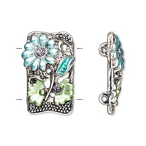 spacer, glass rhinestone / enamel / antique silver-finished pewter (zinc-based alloy), blue / green / purple, 25x14mm single-sided 2-strand beaded rectangle with flower and leaves design, fits up to 15mm bead. sold per pkg of 2.