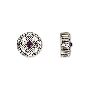 spacer, glass rhinestone and antique silver-finished pewter (zinc-based alloy), dark purple, 12mm single-sided 2-strand flat round with beaded flower design, fits up to 8mm bead. sold per pkg of 2.