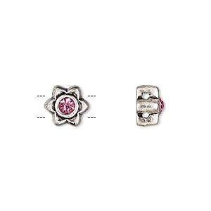 spacer, glass rhinestone and antique silver-finished pewter (zinc-based alloy), pink, 8x8mm single-sided 2-strand flower, fits up to 5mm bead. sold per pkg of 6.