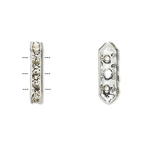 spacer, glass rhinestone and silver-plated brass, crystal, 16x3.5mm 3-strand bridge, fits up to 3.5mm bead. sold per pkg of 10.