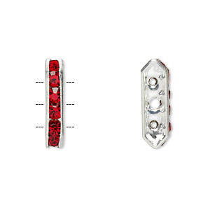 spacer, glass rhinestone and silver-plated brass, red, 16x3.5mm 3-strand bridge, fits up to 3.5mm bead. sold per pkg of 10.