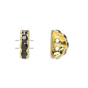 spacer, gold-finished brass and rhinestone, black, 12x4mm 2-strand half-round bridge, fits up to 3.5mm bead. sold per pkg of 10.