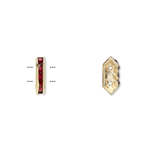 spacer, gold-finished brass and rhinestone, garnet red, 11x2.5mm 2-strand bridge, fits up to 4.5mm bead. sold per pkg of 10.