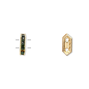 spacer, gold-finished brass and rhinestone, green, 11x2.5mm 2-strand bridge, fits up to 4.5mm bead. sold per pkg of 10.