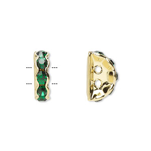 spacer, gold-finished brass and rhinestone, green, 12x4mm 2-strand half-round bridge, fits up to 3.5mm bead. sold per pkg of 10.