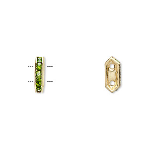 spacer, gold-finished brass and rhinestone, peridot green, 11x2.5mm 2-strand bridge, fits up to 4.5mm bead. sold per pkg of 10.