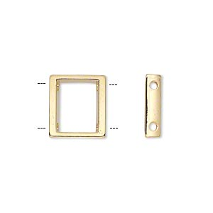 spacer, gold-plated pewter (zinc-based alloy), 13x12mm 2-strand open rectangle with 8.5mm between holes. sold per pkg of 24.