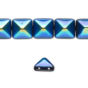 spacer, preciosa, czech pressed glass, jet ab, 11x11mm 2-strand pyramid, fits up to 5.5mm bead. sold per 8-inch strand, approximately 15 spacers.