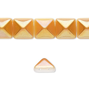 spacer, preciosa, czech pressed glass, opaque alabaster and amber yellow, 11x11mm 2-strand pyramid, fits up to 5.5mm bead. sold per 8-inch strand, approximately 15 spacers.