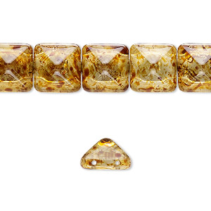 spacer, preciosa, czech pressed glass, transparent tortoise gold, 11x11mm 2-strand pyramid, fits up to 5.5mm bead. sold per 8-inch strand, approximately 15 spacers.
