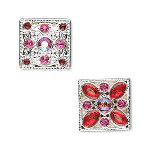 spacer, silver-plated pewter (zinc-based alloy) and czech glass rhinestones, red, 15x15mm double-drilled square. sold per pkg of 2.