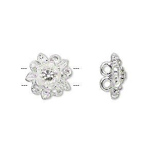 spacer, silver-plated pewter (zinc-based alloy) and czech glass rhinestone, clear, 13x13mm 2-strand single-sided flower, fits up to 3mm beads. sold per pkg of 4.