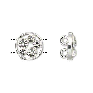 spacer, silver-plated pewter (zinc-based alloy) and czech glass rhinestone, clear, 13mm 2-strand single-sided flat round with circle cutout design, fits up to 5mm beads. sold per pkg of 2.