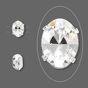 spacer, swarovski crystals and rhodium-plated brass, crystal passions, crystal clear, 8x6mm 2-strand faceted oval (15504), fits up to 3mm bead. sold per pkg of 4.