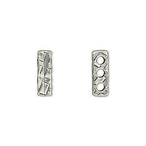 spacer, tierracast, antiqued pewter (tin-based alloy), 14x4.5mm 3-strand textured rectangle with 2mm hole, fits up to 3.5mm bead. sold per pkg of 2.