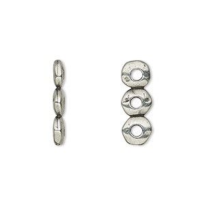 spacer, tierracast, antiqued pewter (tin-based alloy), 18x2.5mm 3-strand rondelle nugget with 2mm hole, fits up to 6mm bead. sold per pkg of 2.