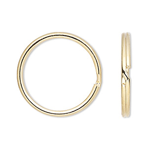 split ring, gold-finished steel, 25mm round. sold per pkg of 10.