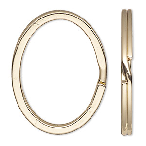 split ring, gold-finished steel, 34x28mm flat oval. sold per pkg of 10.