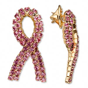 spot pin, glass rhinestone and gold-finished brass, pink, 1-1/2 inch breast cancer awareness ribbon. sold individually.