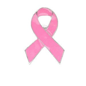 spot pin, silver-finished pewter (zinc-based alloy) and enamel, dark pink, 41x28mm breast cancer awareness ribbon. sold per pkg of 4.