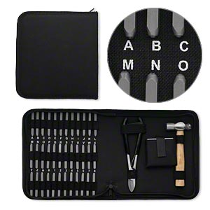 stamp punch set, rubber and steel, black, alphabet letters a-z, numbers 0-9,  symbol, ball peen hammer, block and cutter in a zipper pouch. sold per 36-piece set.