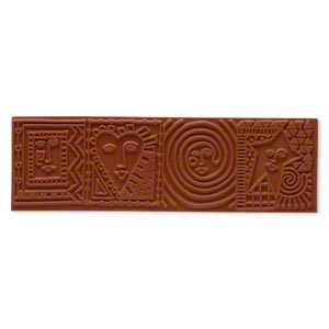 stamping mat, rubber, brown, 7x2-inch rectangle with cube face designs. sold individually.