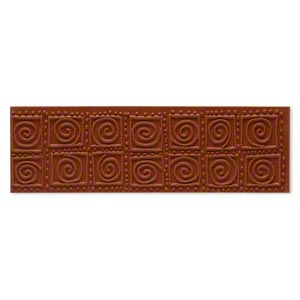 stamping mat, rubber, brown, 7x2-inch rectangle with square and swirl designs. sold individually.