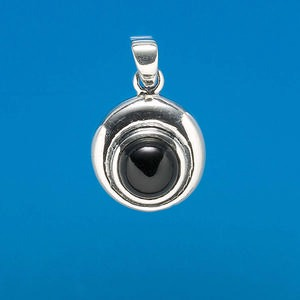 sterling silver and black onyx cabochon pendant, 8mm round, approx. 16x25mm overall. (dyed) sold individually.