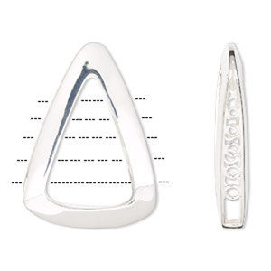sterling silver open triangle focal, 5-loops, 48x35mm. sold individually.